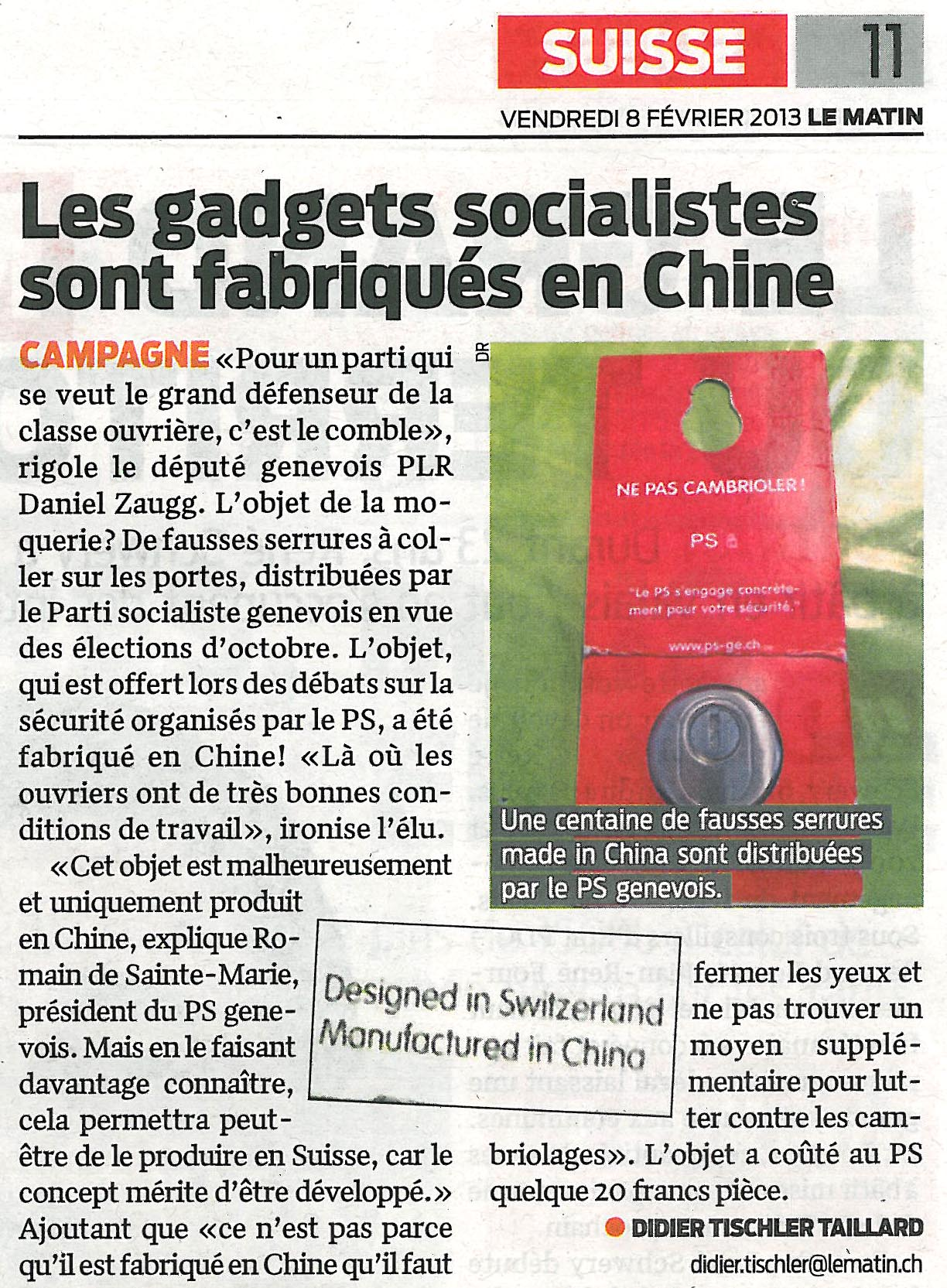 Article du Matin du 08.02.2013