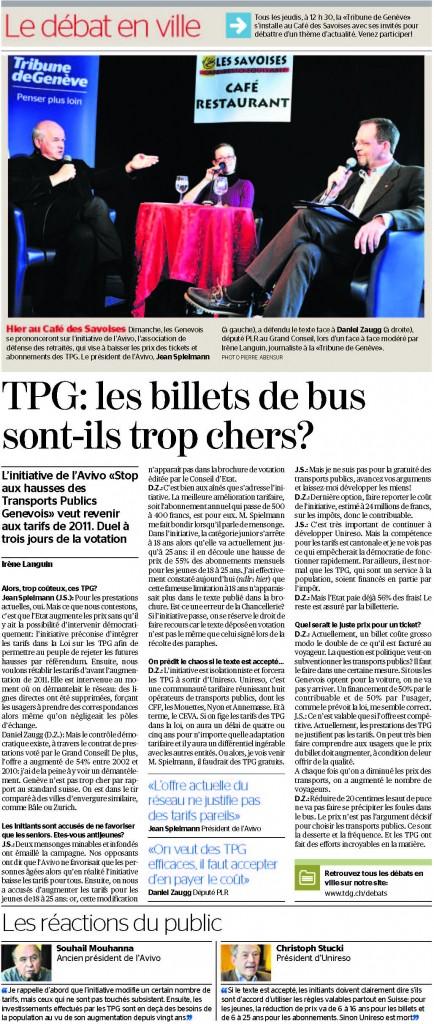 Article dans la Tribune de Genève du 01.03.2013
