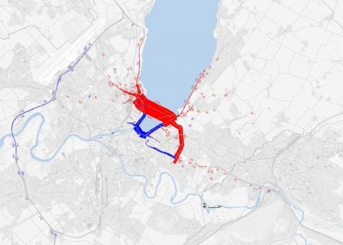 Cliquez sur l'image pour agrandir les effets sur le trafic de la traversée de la rade