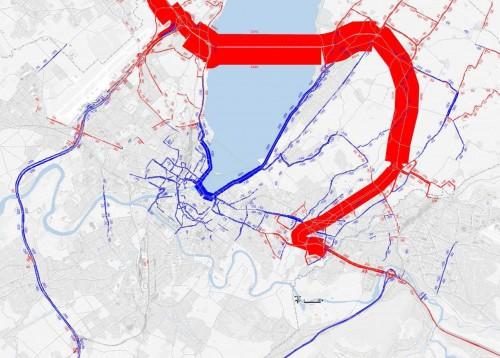 Cliquez sur l'image pour agrandir les effets sur le trafic de la traversée du lac